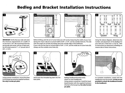 Universal Bed Leg and Headboard Bracket Installation Instructions Page 2